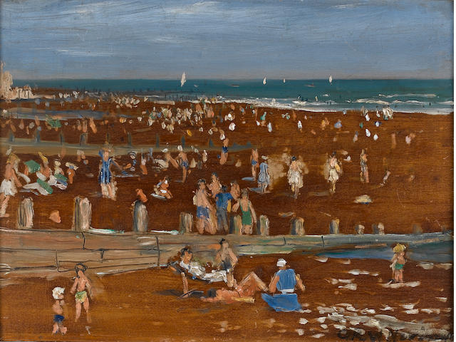 Attributed to Christopher Richard Wynne  Nevinson (British, 1889-1946) Beach scene 30.5 x 40.5 cm. (