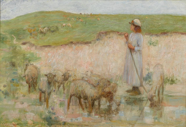 Edward Stott (British, 1859-1918) Study for 'The Sheep pool' 31.5 x 46.5 cm. (12 1/2 x 18 1/4 in.)