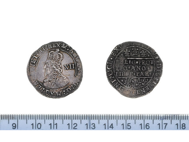 Charles I, Provincial and Civil War issues (1638-49), Oxford mint (1642-46), Shilling, 1644, crowned bust facing left with XII behind,