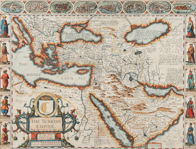 Speed (John) The Turkish Empire,(Eastern Mediterranean, Arabia, Iraq, South East Russia, North East Africa) engraved map, hand coloured, with prospects/plans of eight cities including Damascus, Cairo, Jerusalem and Constantinople, costume studies of five national dresses and their wives, and a decorative cartouche, (Humble),