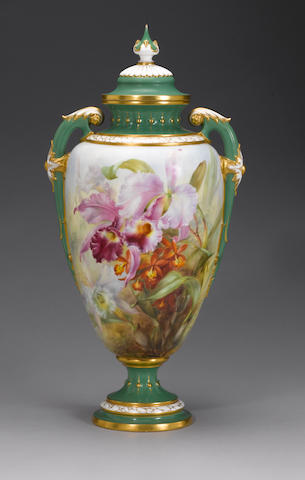 A massive Royal Worcester vase and cover by Frank Roberts dated 1912