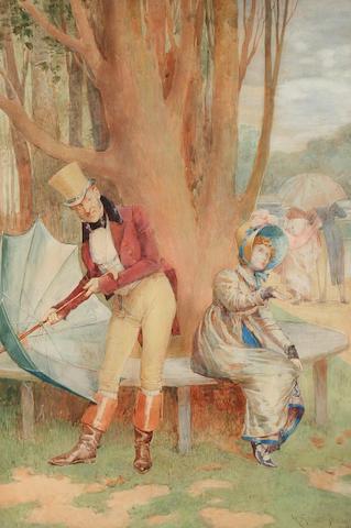 Henry Gillard Glindoni (British, 1852-1913) 'A Summer Shower',