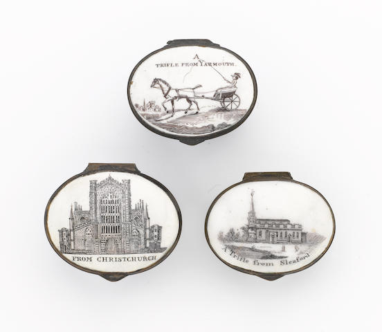 Three South Staffordshire enamel patch boxes late 18th and early 19th century