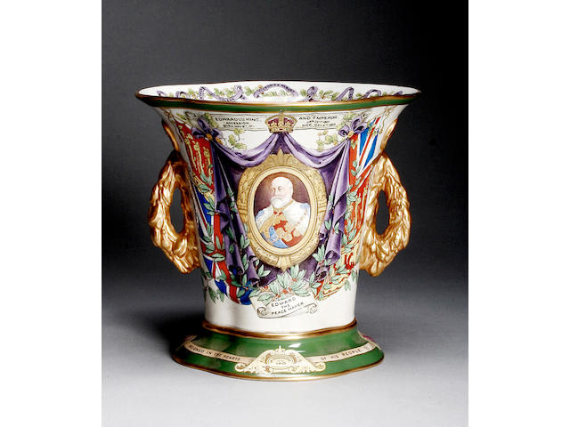 A Copeland King Edward VII in memoriam twin-handle vase 1910,
