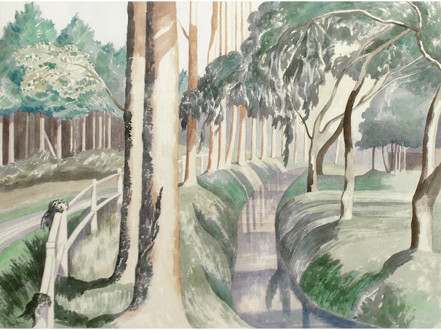John Nash R.A. (British, 1893-1977) Trees by a moat