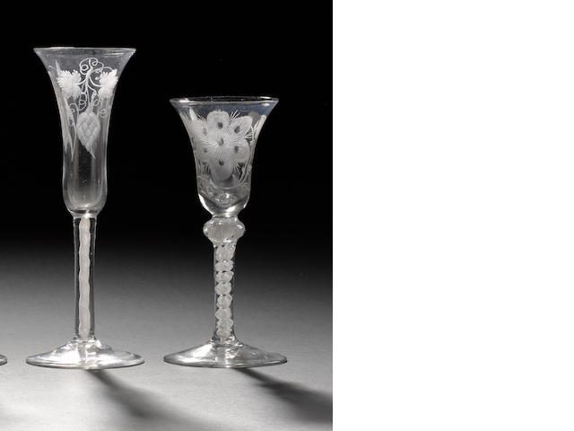 Two engraved opaque twist wine glasses circa 1760