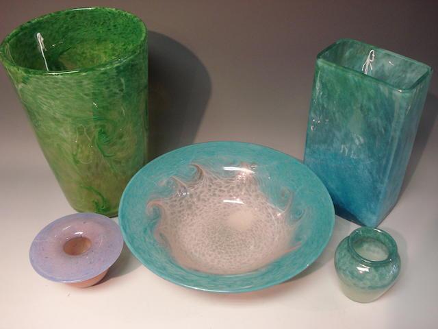 A Monart 'Paisley shawl' glass vase Shape OE