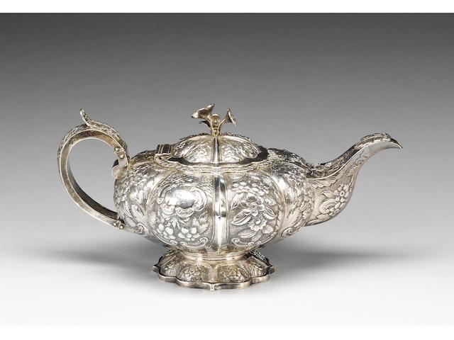 A George IV Irish silver teapot, by Edward Power, Dublin 1827,