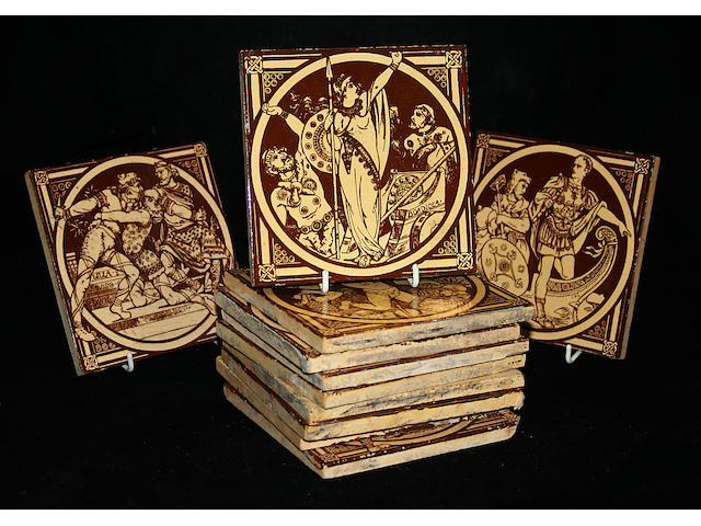 A collection of Minton tiles by Moyr Smith