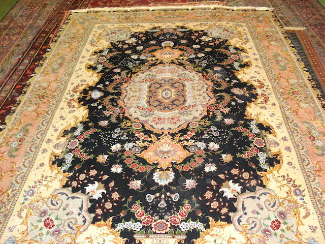 A part silk Tabriz carpet North West Persia,