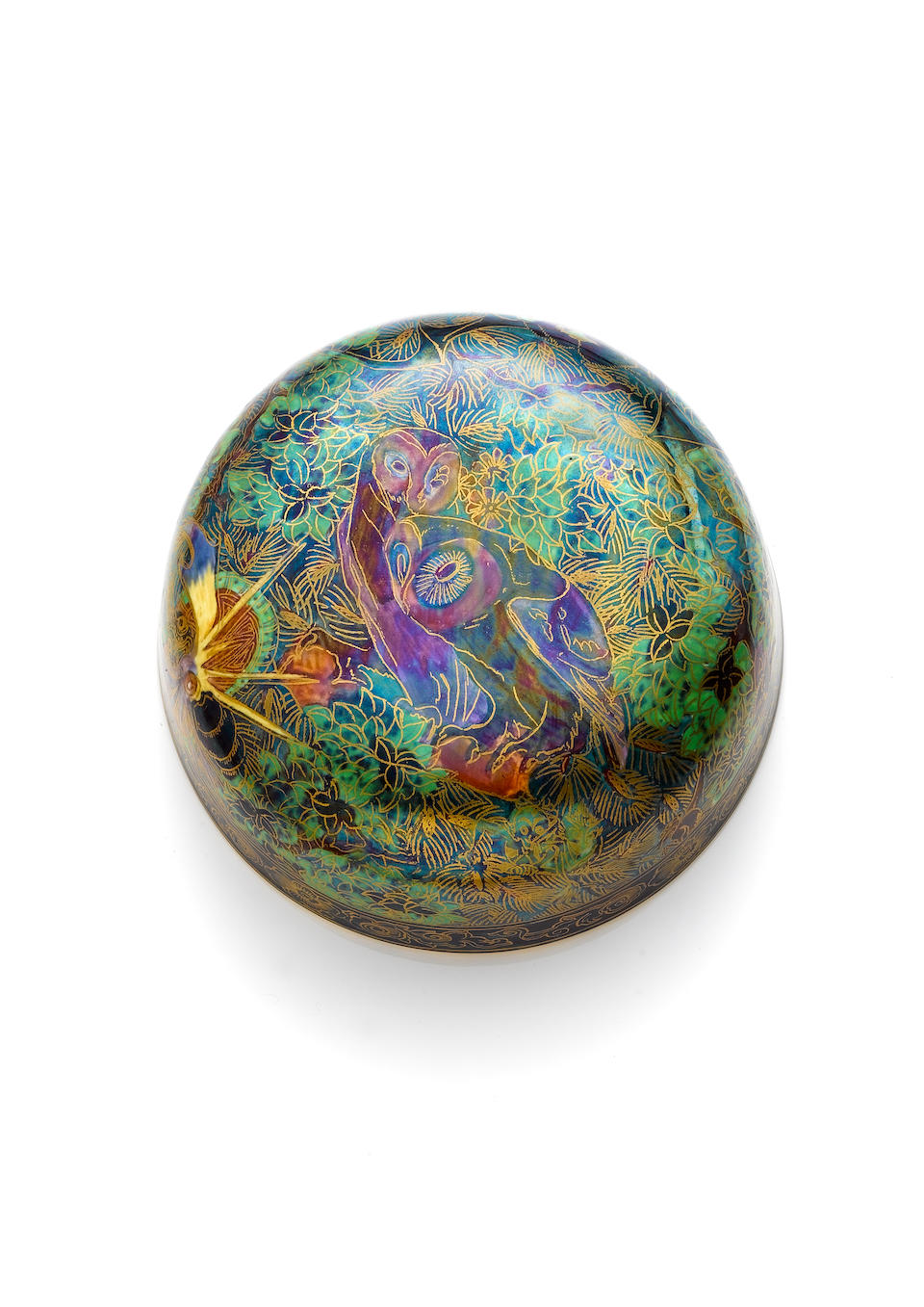 Daisy Makeig-Jones for Wedgwood 'Ghostly Wood' a Rare, Fairyland Lustre, Malfrey Pot and Cover, circ