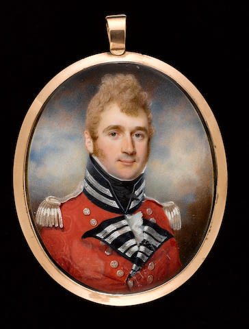(n/a) Charles Jagger (British, 1770-1827) An Officer, wearing scarlet coatee with blue facings, silver lace, buttons and epaulettes, frilled white chemise and black stock