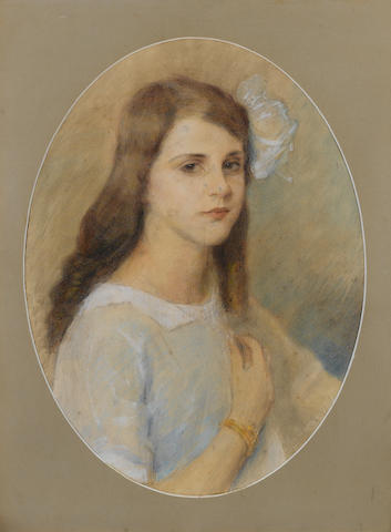 Evangelos Ioannidis (Greek, 1868-1942) Portrait of a young lady; Portrait of a girl, a pair each 56.5 x 42 cm. (in oval shape) (2)