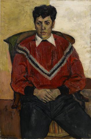 John Minton (British, 1917-1957) A Portrait of Raymond Ray 76.2 x 50.8 cm. (30 x 20 in.) (unframed)