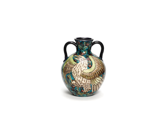 Joe Juster for William De Morgan An Impressive Twin-Handled Pottery Vase, circa 1890