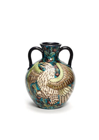 Joe Juster for William De Morgan An Impressive Twin-Handled Pottery Vase, circa 1890