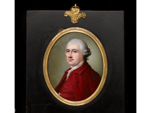 Henry Spicer (British, 1743-1804) David Garrick (1717-79), wearing crimson coat, matching waistcoat, frilled chemise, stock and powdered wig worn en queue and tied with black ribbon