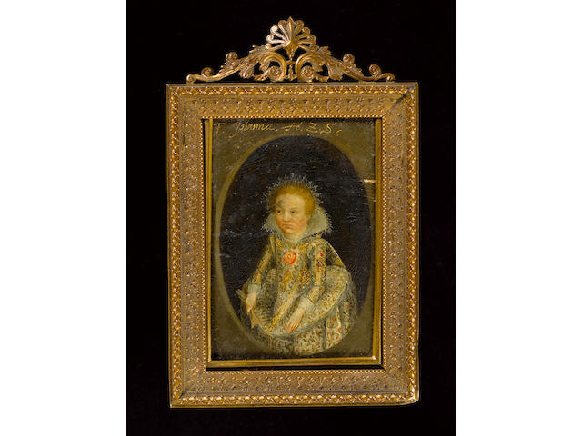 Flemish School, 18th Century A Child, wearing white dress with fine embroidered floral decoration in gold, pink and green, her collar starched and dressed with lace, standing lace hair decoration, she holds a glove in her left hand