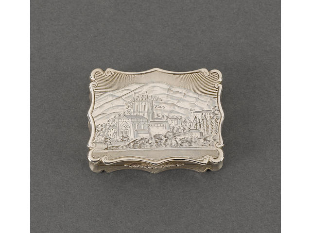 A Victorian silver pictorial vinaigrette, by Nathaniel Mills, Birmingham 1851,