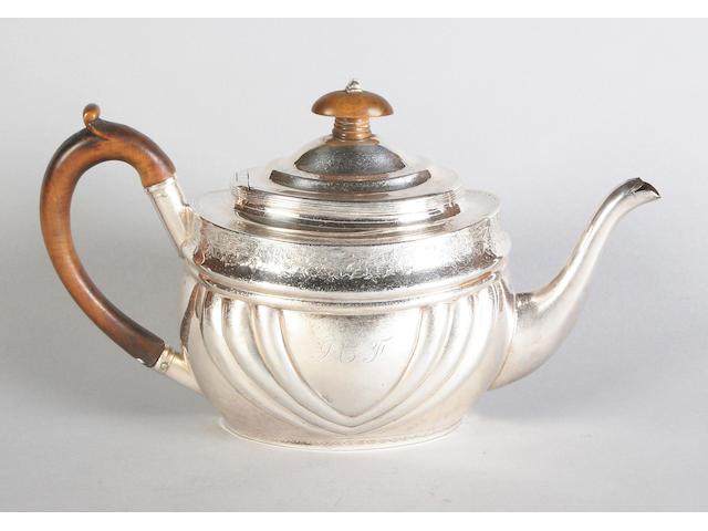 A George III silver teapot, Maker's mark 'JW', 1804,