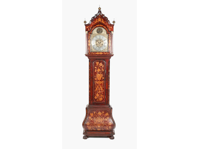 A Dutch marquetry inlaid longcase clock,