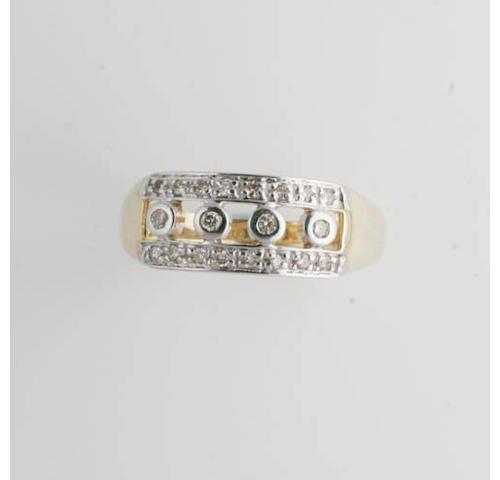 A graduated five stone diamond ring, (6)