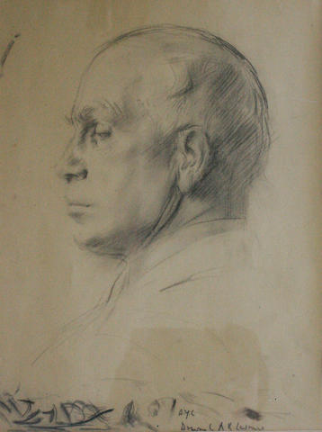 Alfred Kingsley Lawrence (British, 1893-1978) Head and shoulders portrait of DY Cameron