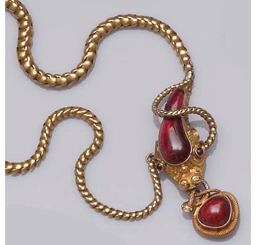 An early Victorian gold and garnet serpent necklace