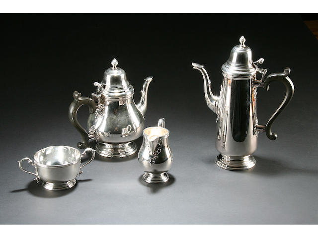 A four piece tea and coffee service by Mappin & Webb, Sheffield 1973