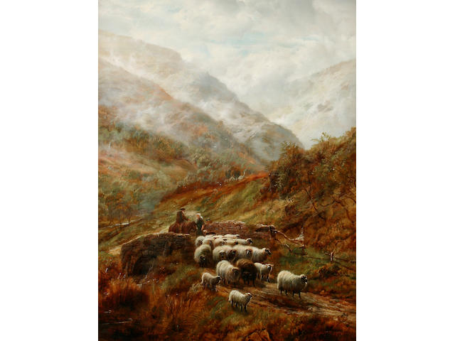 Robert Watson (British, active 1877-1920) Highland cattle watering by a loch side, together with another of farmer and sheep crossing a bridge, a pair,
