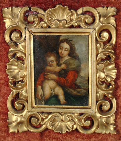 Manner of Raffaello Sanzio, called Raphael, 17th Century The Madonna and Child 10 x 7.7cm (3 7/8 x 3in) in a 19th Century carved and gilded frame