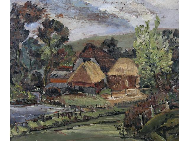 Stanley Grimm (British, 1891-1966) 'Farmstead, Sussex',
