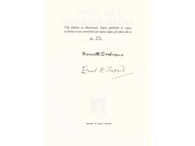GRAHAME (KENNETH) The Wind and the Willows, NUMBER 26 OF 200 COPIES ON HAND-MADE PAPER