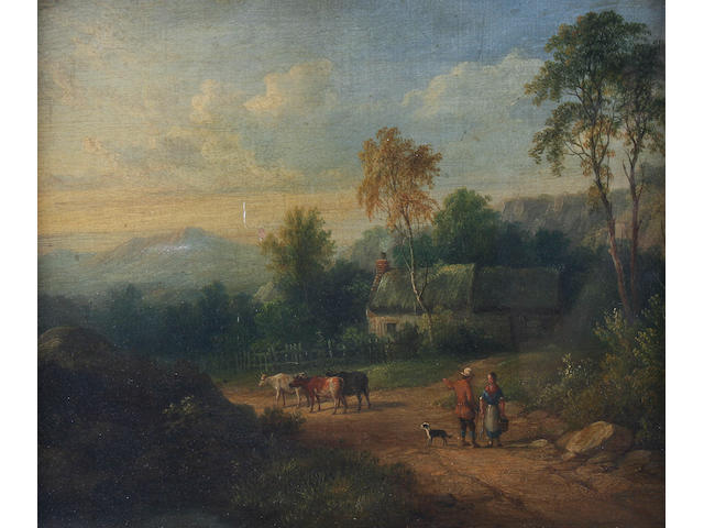 1 oil on canvas-figures and cattle in a landscape...attri to Naysmith Family