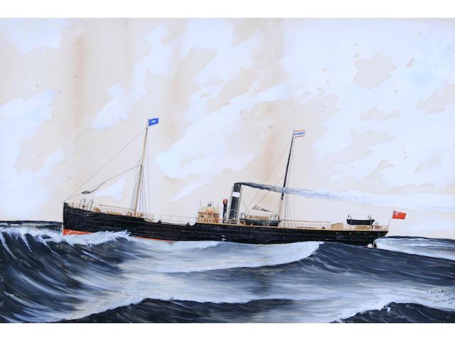Continental School 1902 A steam ship at sea,