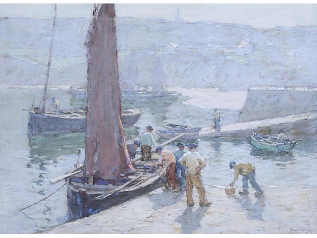 "Terrick Williams (British, 1860-1936) "" A Bright Morning, Douarnenez"", Brittany,"