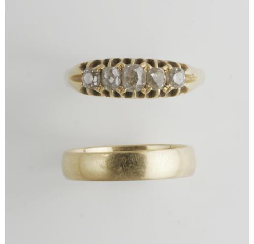 An Edwardian diamond ring, (2)
