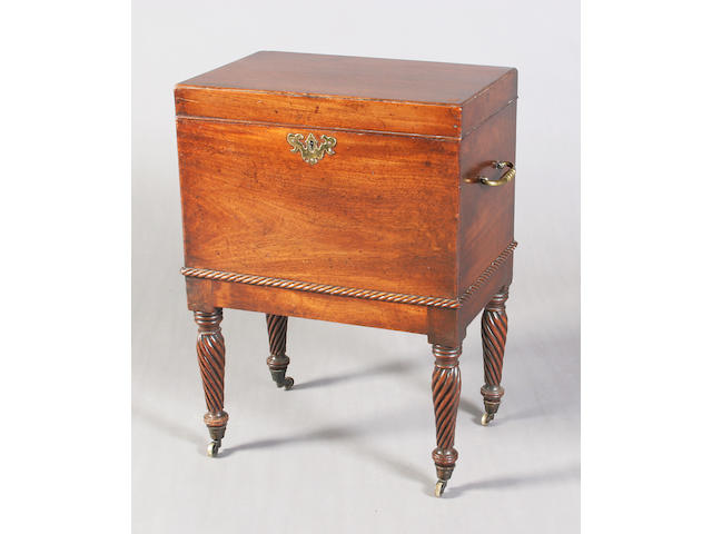 A George III rectangular mahogany cellaret