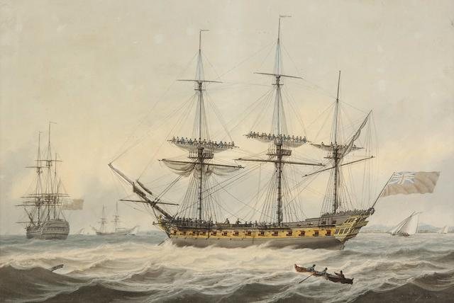 Samuel Atkins (British, fl.1787-1808) A British man o'war and other vessels off a coastline