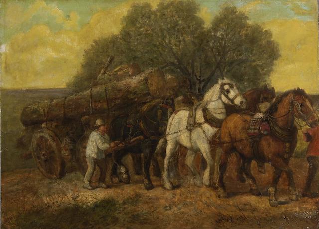 Richard Beavis (British, 1824-1896) The timber wagon, (unframed)