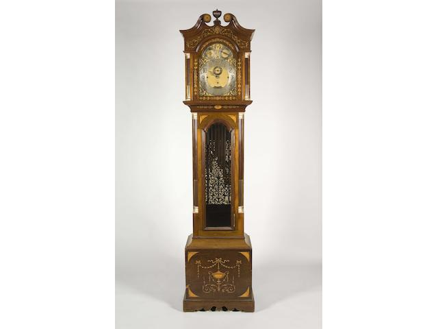 An early 20th century mahogany and marquetry quarter chiming longcase clock Vokes, Bath