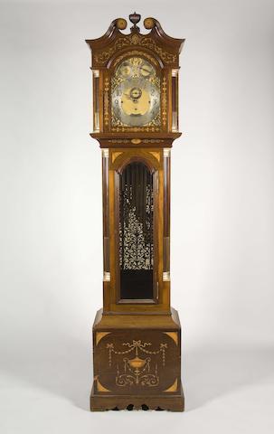 An early 20th century mahogany and marquetry quarter chiming longcase clock Vokes, Bath