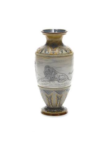 Hannah Barlow for Doulton Lambeth A Stoneware Vase, 1885