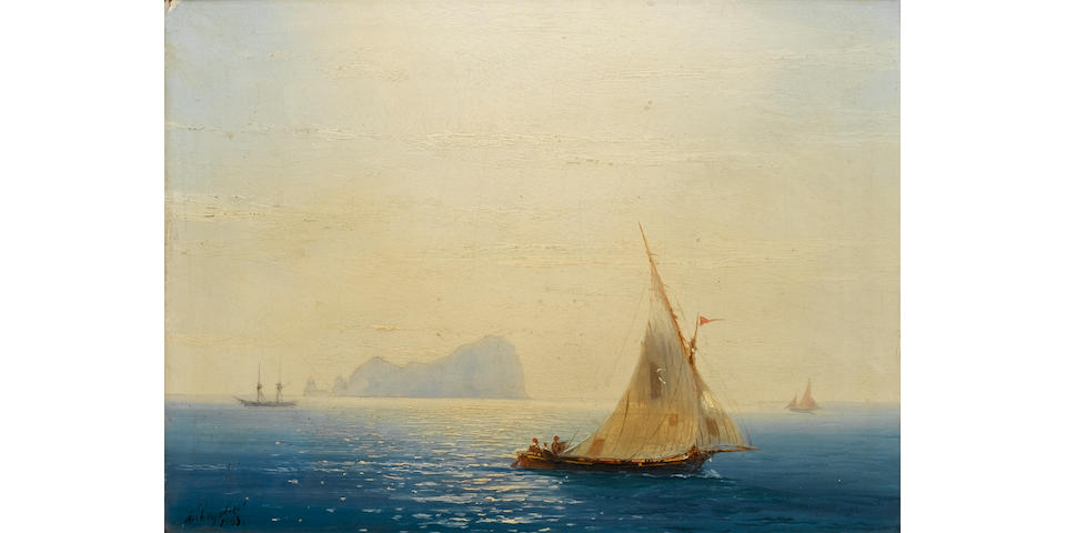 Ivan Konstantinovich Aivazovsky (Russian, 1817-1900) Xebecs off an Aegean island at twilight  18 x 24 cm. (7 x 9 1/2 in.)