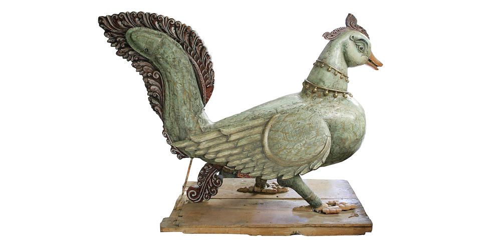 A large wood figure or Vahana of a mythical Hansa [The Hindu Bird of Wisdom];
