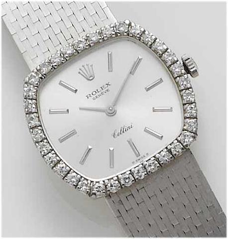 Rolex. A lady's 18ct white gold diamond set bracelet watch  Cellini, 1970's