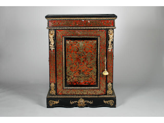 A Napoleon III ebonised and boulle work pier cabinet