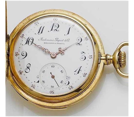 Audemars Piguet & Co. A fine late 19th century 18ct gold full hunter minute repeating pocket watch Case No.7508