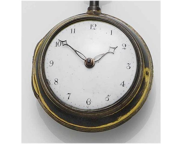 James Asby, London: A late 18th Century gilt pair case pocket watch,