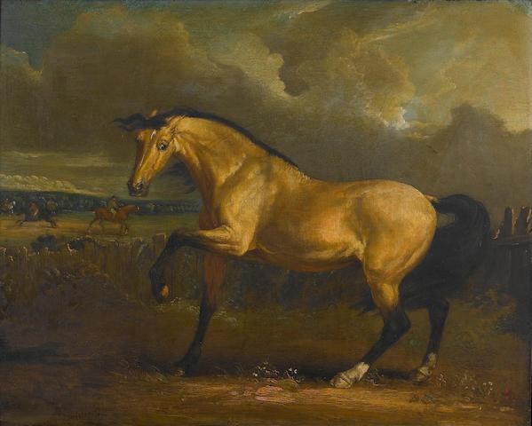 James Ward, RA (British, 1769-1859) An arabian in a landscape 36 x 45 cm. (14 1/4 x 17 3/4 in.)
